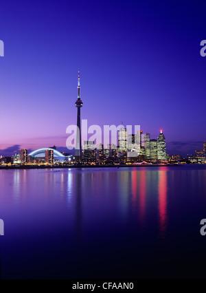 skyline view from toronto islands at twilight, toronto, ontario, canada. - Stock Photo