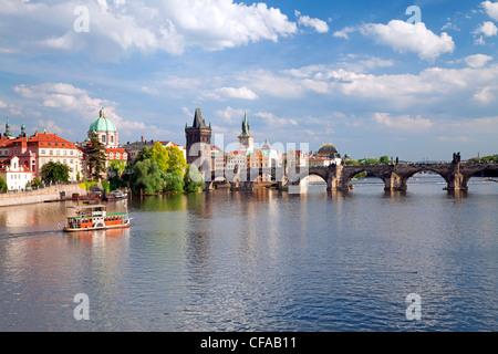 View of the River Vltava, Prague, Czech Republic - Stock Photo