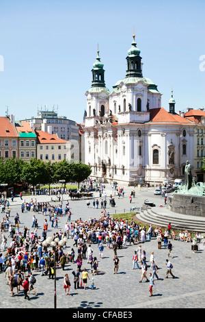 St. Nicholas Church in the Old town (Stare Mesto), Prague, Czech Republic - Stock Photo