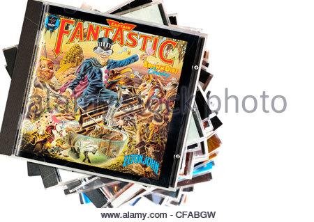 Elton John 1974 album Captain Fantastic and the Brown Dirt Cowboy, CD cases, England - Stock Photo