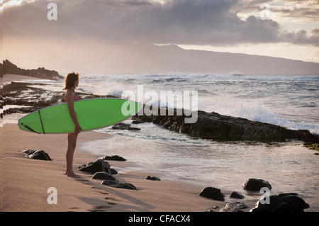 Surfer carrying surfboard on beach - Stock Photo
