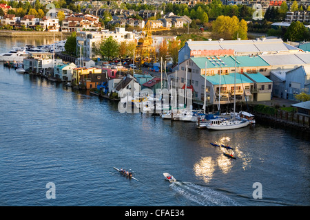 Boats and floating houses in False Creek along Granville Island, from Granville Bridge, Vancouver, British Columbia, - Stock Photo