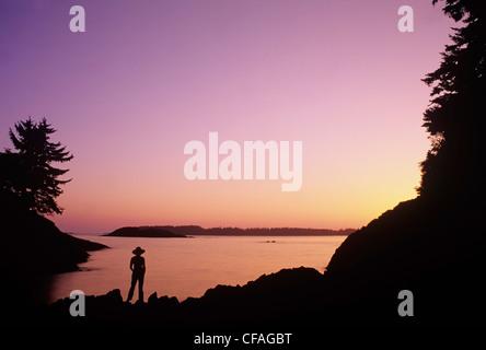 Sunset at Mackenzie Beach, Vancouver Island, British Columbia, Canada. - Stock Photo