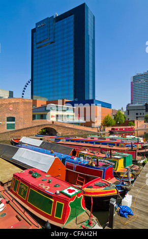 Canal narrow boats in Gas Street basin Birmingham West Midlands England UK GB EU Europe - Stock Photo