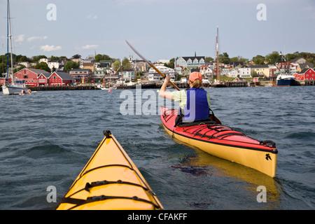 Sea-kayaking in Lunenburg, Nova Scotia, Canada. - Stock Photo