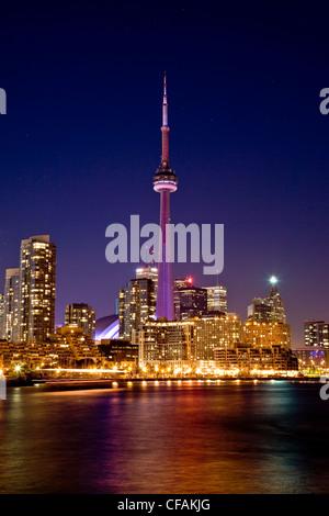 Toronto skyline at night viewed from Island Airport, Ontario, Canada.
