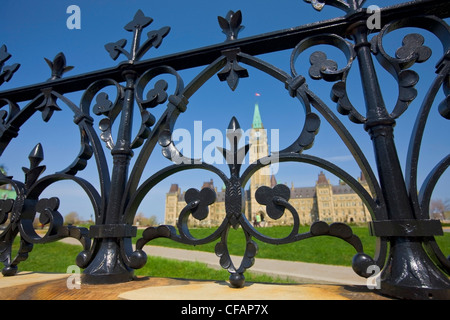 Centre Block Peace Tower Parliament buildings - Stock Photo