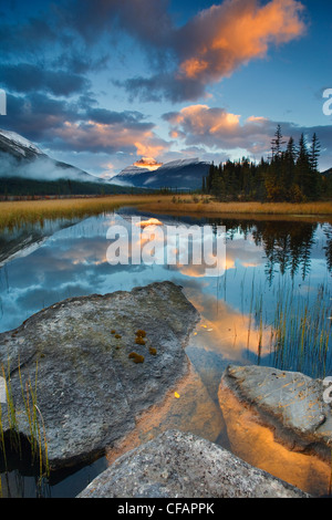 Scenic with water reflections of Rampart Ponds and Mount Athabasca, Banff National Park, Alberta, Canada - Stock Photo