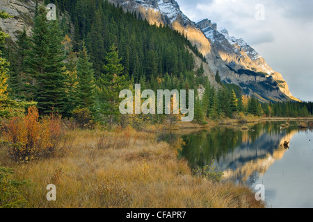 Mount Wilson and the Rampart Ponds in fall, Banff National Park, Alberta, Canada - Stock Photo