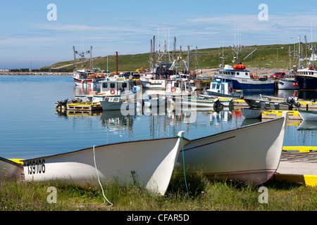 Fishing boats tied up at the wharf in Old Perlican, Newfoundland and Labrador, Canada. - Stock Photo