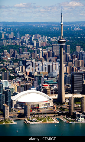 CN Tower and Rogers Centre in downtown Toronto, Ontario, Canada - Stock Photo