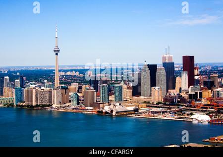 Toronto skyline with CN Tower, Toronto, Ontario, Canada - Stock Photo