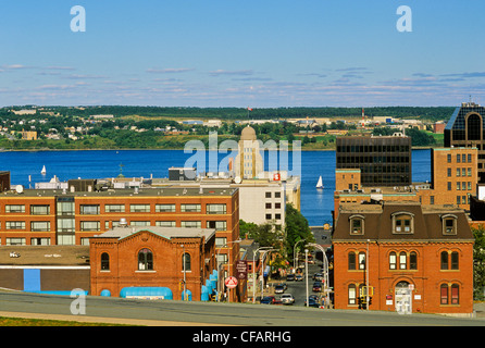 View towards the harbour from Citadel Hill, Halifax, Nova Scotia, Canada. - Stock Photo