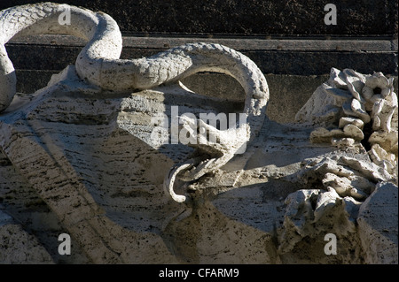 Detail of the Four Rivers Fountain, Piazza Navona, Rome, Latium, Italy - Stock Photo