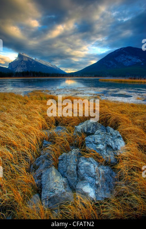 Mount Rundle during sunset with the Vermillion Lakes in front, Banff, Alberta, Canada - Stock Photo