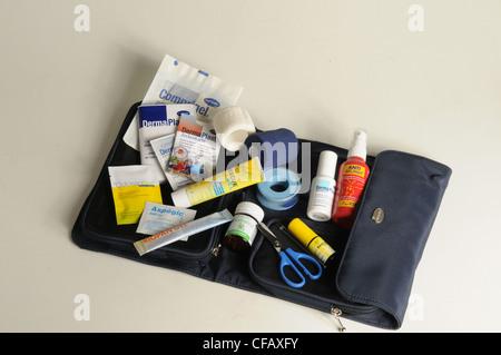 Drugs, first-aid kit, travel sickness, injury, sticking plaster, - Stock Photo