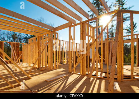 Interior framing of a house under construction - Stock Photo