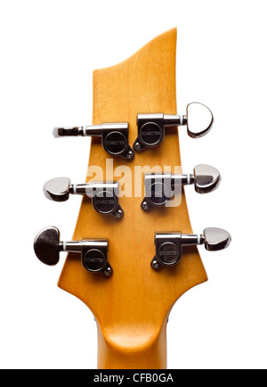 Electric guitar headstock showing string tuners - Stock Photo