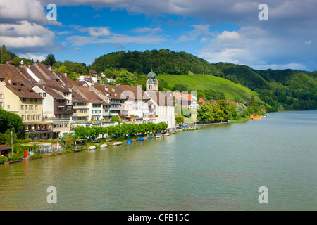 Eglisau, Switzerland, canton Zurich, village, houses, homes, church, boats, river, flow, Rhine, - Stock Photo