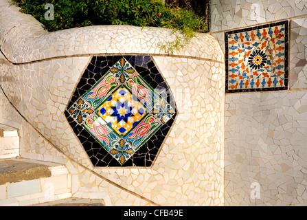 Barcelona, Spain. Park Guell (Antoni Gaudi, 1914) Tiles by the main staircase - Stock Photo