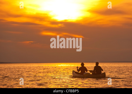 Canton, St. Gallen, St. Gall, Switzerland, Europe, sundown, sunset, sport, spare time, leisure, adventure, water - Stock Photo