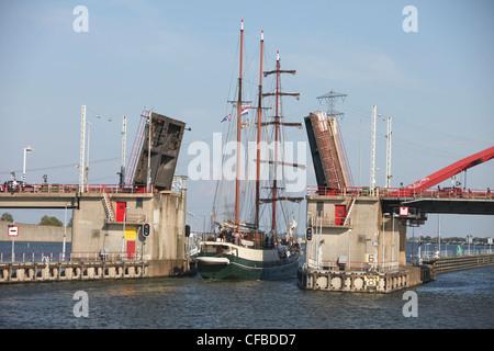 Holland, Europe, Netherlands, Amsterdam, bridge, balance bridge, sail boat, river, flow, - Stock Photo
