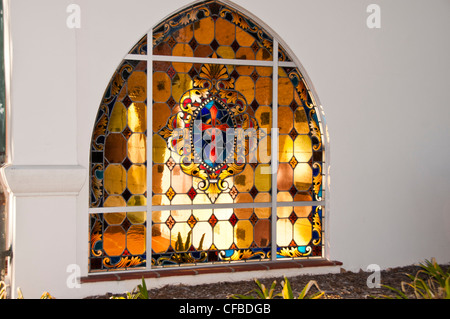 detail stained glass window - Stock Photo
