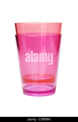 Colorful Transparent Plastic Cups on White Background - Stock Photo