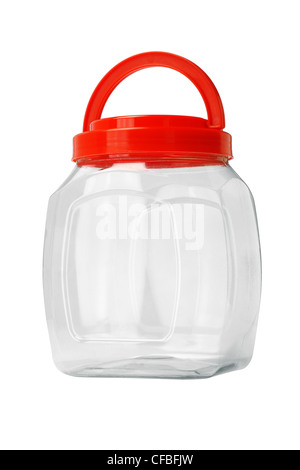 Transparent Empty Plastic Container on white Background - Stock Photo