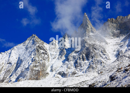 Aiguille, mountain, Aiguille de la Tsa, Arolla, Arolla valley, mountain panorama, Eringer valley, peak, Tsa, Valais, - Stock Photo