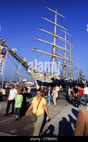 Amsterdam harbor during the SAIL 2005 maritime festival, The Netherlands. - Stock Photo