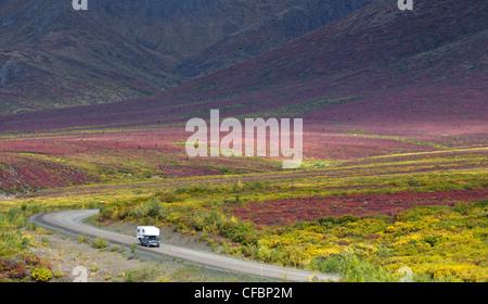 Camper van, Dempster Highway, Tombstone Territorial Park, Yukon Territory, Canada - Stock Photo