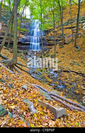 Sherman Falls, Bruce Trail, Niagara Escarpment, Hamilton, Ontario, Canada - Stock Photo