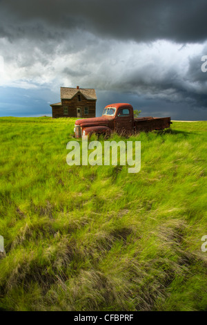 Abandoned old pickup truck and homestead near Leader, Saskatchewan, Canada - Stock Photo