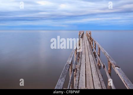 Wooden pier on Lake Winnipeg. Matlock, Manitoba, Canada.