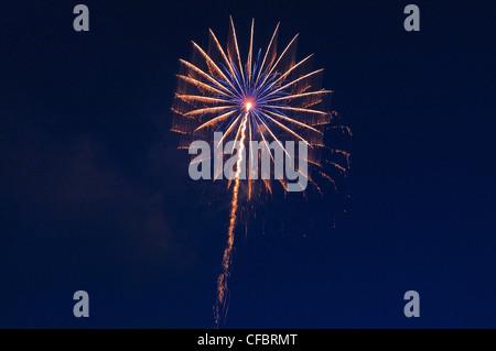 Fires, fireworks, pyrotechnics, rocket, rays, beams, explode, explosion, sky, darkly, sky, brightly, illuminates, - Stock Photo