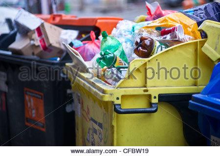 Prague rubbish bin bins tras - Stock Photo