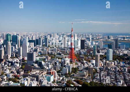 Japan, Asia, Tokyo, city, Tokyo Skyline, Tokyo Tower, architecture, big, buildings, city, huge, metropolis, modern, - Stock Photo
