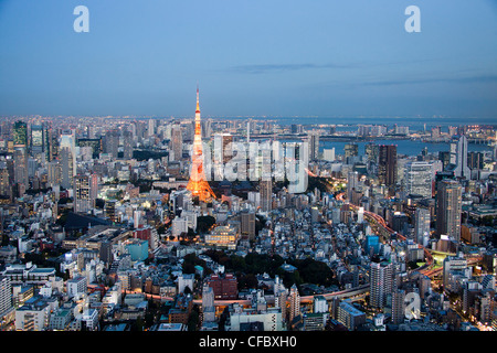 Japan, Asia, Tokyo, city, Tokyo Skyline, Tokyo Tower, architecture, big, buildings, city, downtown, huge, lights, - Stock Photo