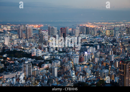 Japan, Asia, Tokyo, city, Skyline of Shinagawa, Tokyo Bay, architecture, big, buildings, city, downtown, huge, lights, - Stock Photo