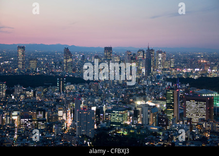 Japan, Asia, Tokyo, city, sunset, architecture, big, buildings, city, downtown, huge, lights, metropolis, skyline, - Stock Photo