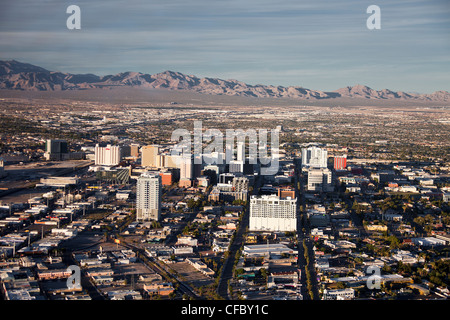 USA, United States, America, Nevada, Las Vegas, City, downtown, aerial view, dry, flat, old town, old Vegas, touristic, - Stock Photo