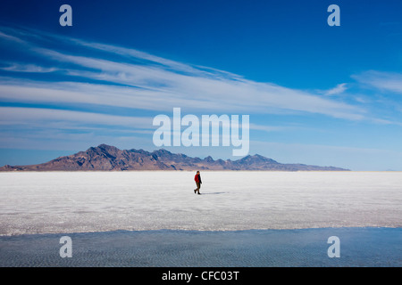 USA, Utah, Bonneville, Salt Flats, big, curious, dessert, dry, flat, travel, huge, man, nature, salt, touristic, - Stock Photo