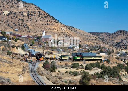 USA, United States, America, Nevada, Old Virginia City, Train Station, gold rush, historic, mines, rush, train, - Stock Photo
