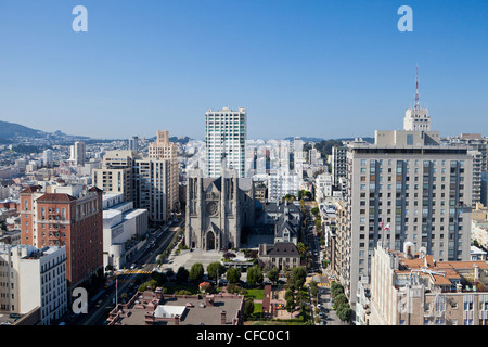 USA, United States, America, California, San Francisco, City, Grace Cathedral, church, downtown, skyline, square - Stock Photo