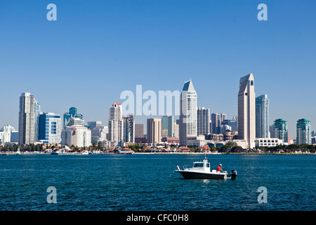 USA, United States, America, California, San Diego, City, Downtown, from Coronado, peninsula, bay, boat, downtown, - Stock Photo