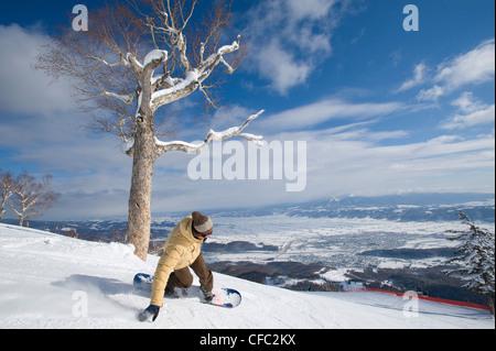 A Japanese snowboarder makes a turn at Furano resort, Hokkaido, Japan - Stock Photo