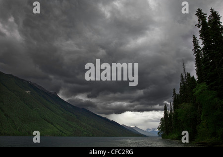 Storm over Isaac Lake in Bowron Lake Park in British Columbia Canada - Stock Photo