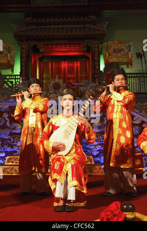Musicians, theater play, Imperial Theater, Citadel, Imperial City, Hue, Trung Bo, Vietnam - Stock Photo