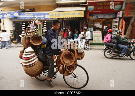 Overloaded bicycle, old town, Hanoi, Bac Bo, Vietnam - Stock Photo